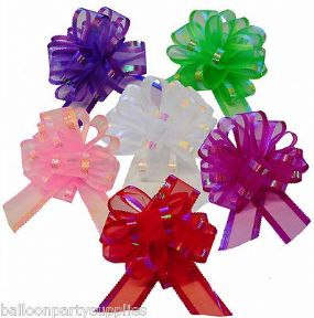 3 Organza Fabric Pull Bows Wedding Car Pew Decoration Craft 6 Colours